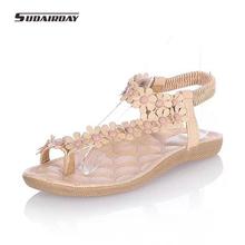 Hot! New 2016 Women Fashion Flowers Shoes Woman Bohemia Flower Beaded Flat Sandals Women High Quality Open Toe Flip flops 35-39