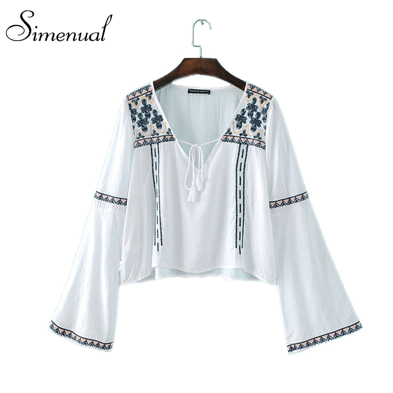 Vintage embroidery floral crop top ladies blouse shirt 2016 flare sleeve slim sexy short cropped tops for women blouses shirts(China (Mainland))