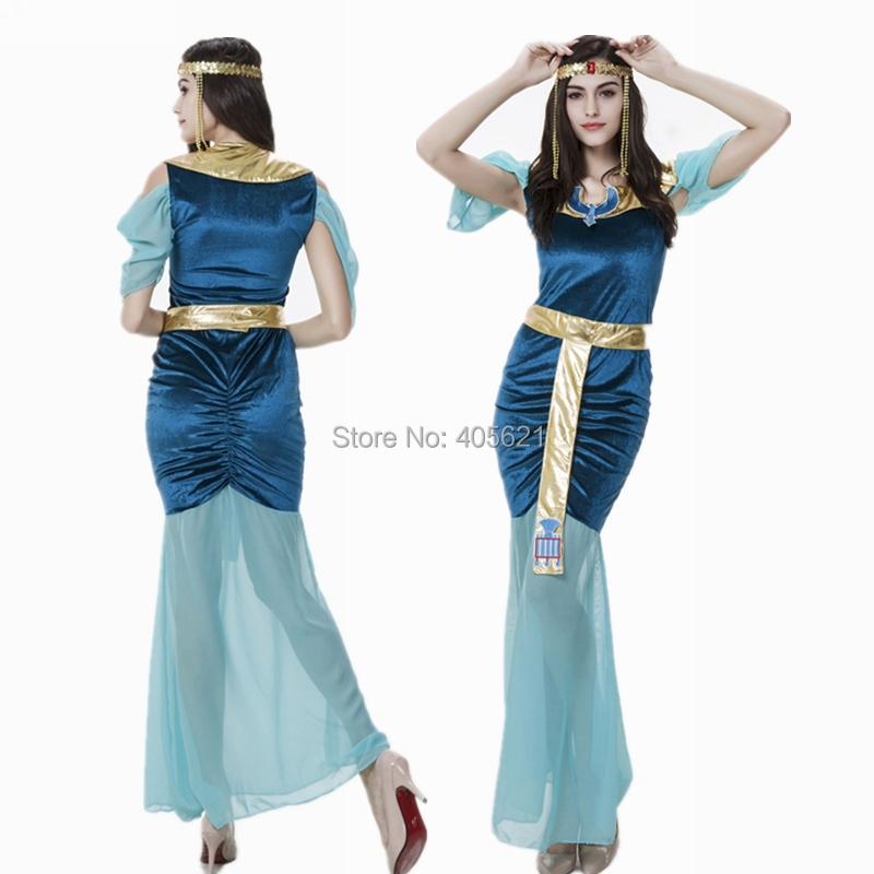 10set/lot Blue Egyptian Goddess Dress Arab Girl Female Theme Costume Halloween Uniform Temptation Festival Performers WearÎäåæäà è àêñåññóàðû<br><br>