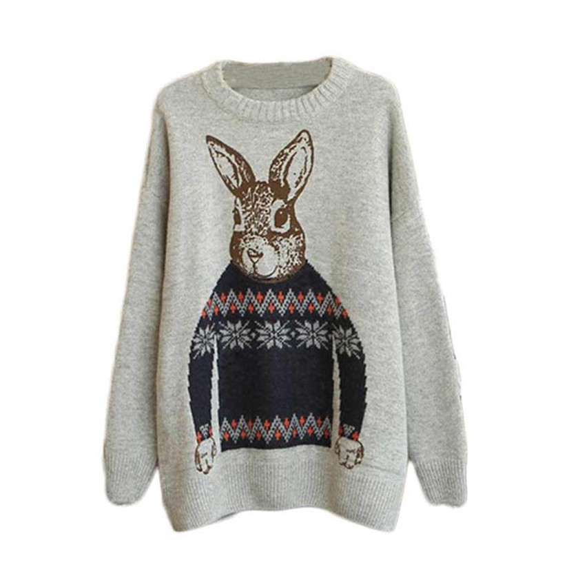 Hot Marketing Fashion Women Animal Rabbit Print Knitted Casual Loose Pullover Sweater(China (Mainland))