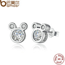 BAMOER Popular 925 Sterling Silver Dazzling Miky Mouse Push-back Stud Earrings for Women & Girls Sterling-Silver-Jewelry PAS457(China (Mainland))