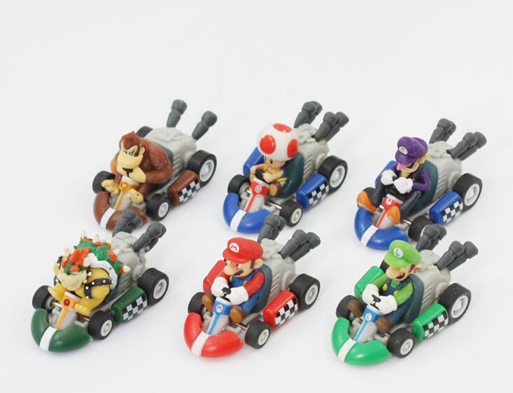 6Pcs/Lot Super Mario Dolls Bros Karts Pull Back Cars PVC Action Figure Collection Model Toys Model Office Desk Decoration(China (Mainland))