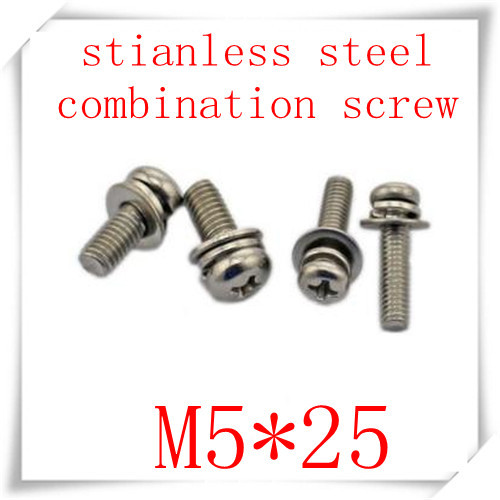 100pcs/lot  Staninless Steel 304 M5*25 Cross Recessed Pan Head Three  Combination  Screw  With Washer<br><br>Aliexpress
