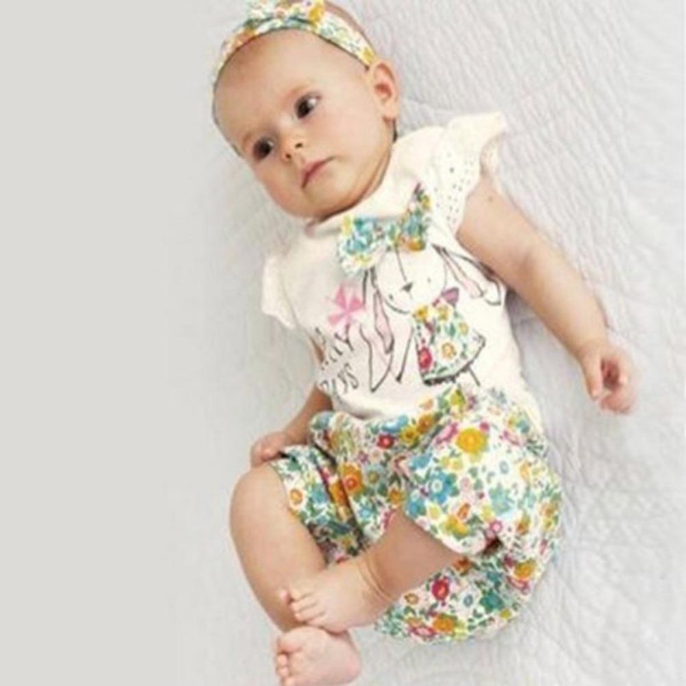Гаджет  Hot Sales Baby Girls 3PCS Set Floral Bowknot T Shirts+Short Pants+Headband Outfits Baby Clothing None Детские товары