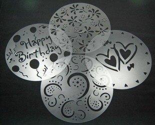 Free shipping 4pcs/set Family of sugar birthday cake spray mold decorating screen printing film coffee tiramisu spray mode
