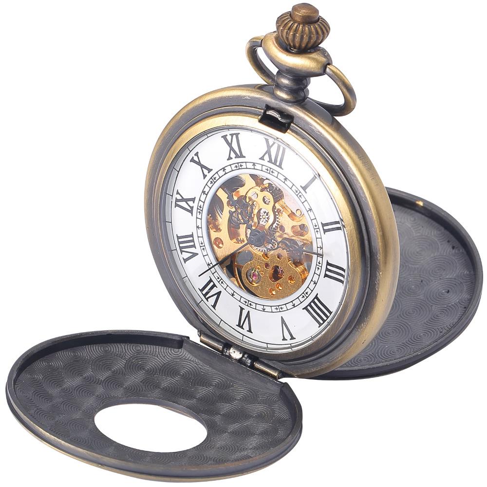 2016 New Clock Unique Double Hunter Case Skeleton Mechanical Pocket Watch Gift aschenuhr Schmuckanhanger Uhr Kette Cool Horloges(China (Mainland))