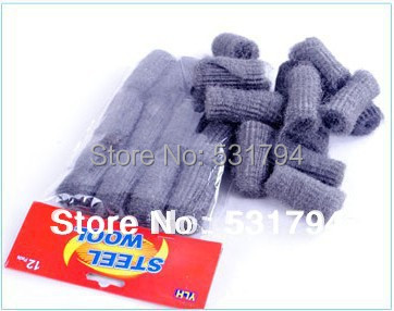 Free shipping! Wholesale 12piece/lot kitchen degreasing cleaning tool steel ball pot brush fine steel wool scourer(China (Mainland))