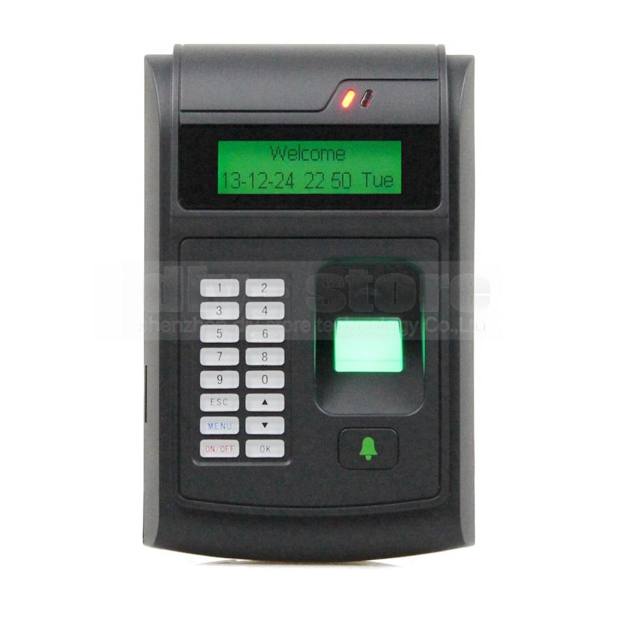 LCD Biometric Fingerprint PIN Code Door Lock Access Control + 125KHz RFID ID Card Reader With USB / Door Bell Button Brand NEW(China (Mainland))