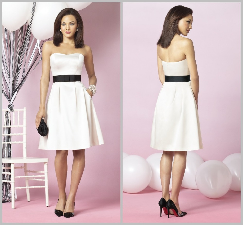 Elegant simple woman wedding party dress ivory knee length for Elegant wedding party dresses