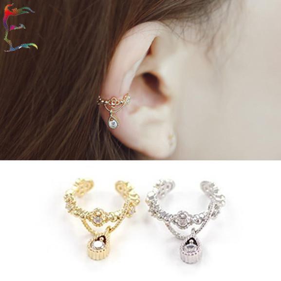 24pc/lot fashion jewelry gold silver crown water drop hollow out flower pendant clip earring ear cuff single punk dangle earcuff(China (Mainland))