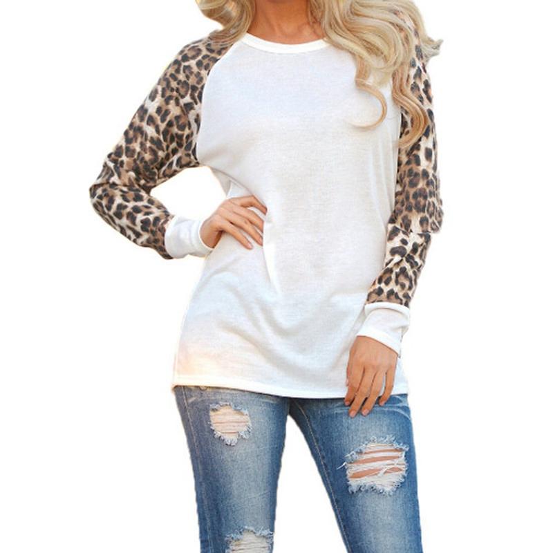 Blusas 2016 Mulheres Da Moda Camisas Casual Tops Primavera Outono Manga Comprida Leopard Chiffon Patchwork Casual Blusas Femininas
