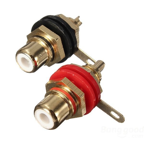 dealbox Audio Binding Post Gold-Plated RCA Chassis Panel Sockets Connectors(China (Mainland))