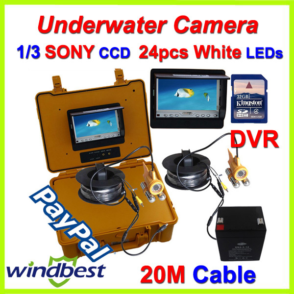 DHL/Fedex Freeshipping CCTV 7'' Color LCD Underwater Fishing Camera DVR Record Video 1/3 SONY CCD 20m Cable 24pcs White LEDs(China (Mainland))