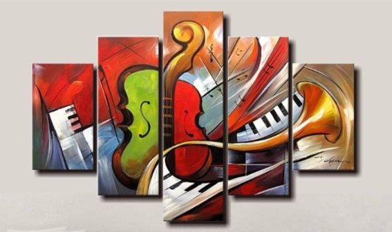 Holiday Sale 100% hand painted discount abstract music paintings wall art 5 panel canvas home decor free shipping framed art(China (Mainland))