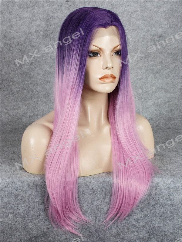 K02 Purple Root To Pink Ombre Color Straight Synthetic Lace Front Wig Heat Resistant Heavy Density kanekalon Lady Natural Wigs
