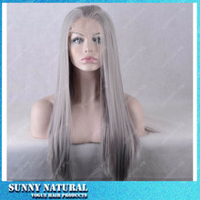 Silver Grey Synthetic Lace Front Wig Silk Straight Long Wigs for Black Women Lace Front Synthetic Wigs Heat Resistant