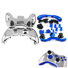 Replacement  Silver Protective Electroplating ABS Full Shell Case Cover+5Colors Button Bit for Xbox 360 Wireless Controller