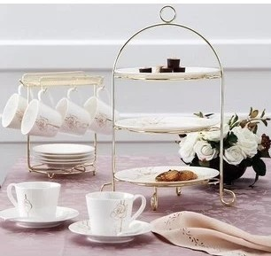 Fashion tieyi snack stand three layer rack pastry rack cake stand fruit plate rack afternoon tea props(China (Mainland))