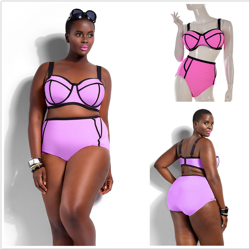 Summer Swimsuit Beachwear High Waist Plus Size Bikini Set Sexy Women Swimwear Bathing Suits Up To 4XL YY033(China (Mainland))