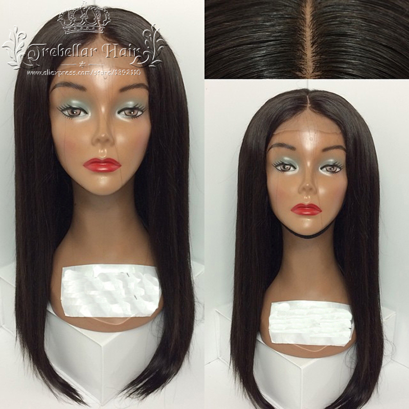 Peruvian Virgin Lace Front Wig Glueless Full Lace Wigs With Beauty Baby Hair U Shaped Staight Human Hair Wig For Black Women(China (Mainland))