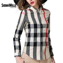 Skinnwille 2017 Весной Новый Классический Британский Стиль Рубашки Платье Показать Тонкие Обычные Модели Женщины Блузки(China (Mainland))