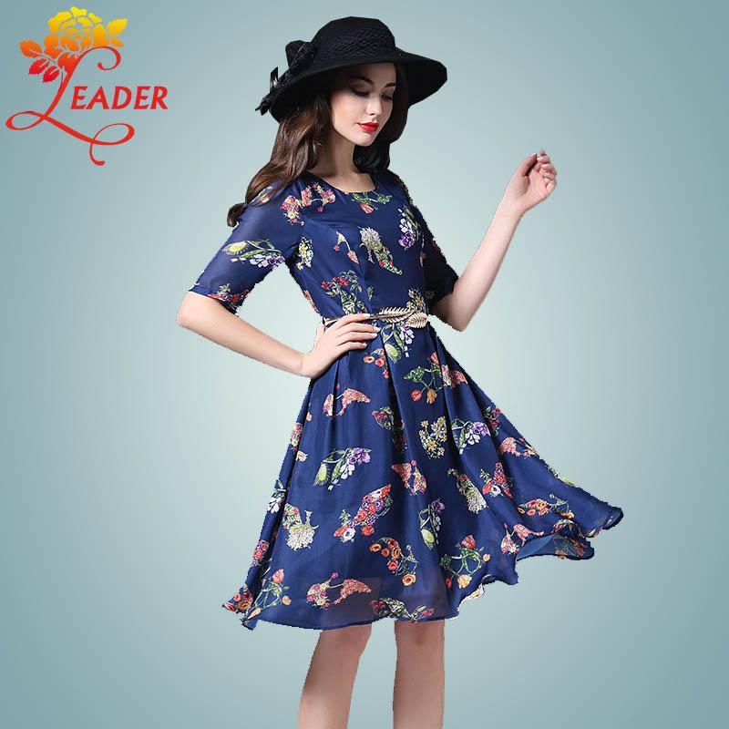 Leader Spring 2016 New Casual Half Sleeve Print Dress Women Plus Size Vintage Slim Flower Midi Dresses Vestidos Robe Femme S-XL