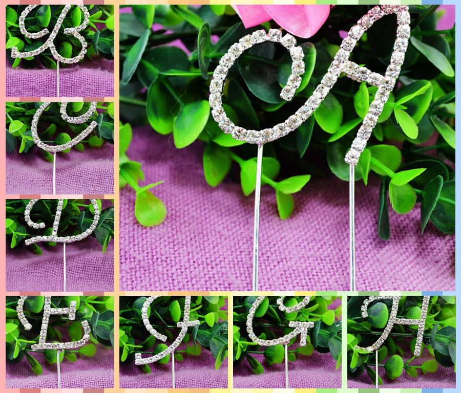 2015 Handmade Rhinestone Cake Sick Topper Alphabet Letter A for Wedding Birthday Party Decoration(China (Mainland))