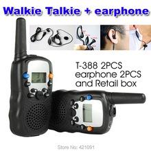 22 Channels Monitor Function Mini Walkie Talkie Travel T-388 Two Way Radio Intercom Free Shipping Retail box