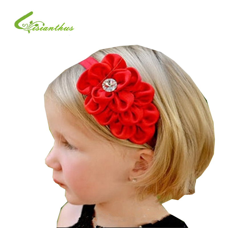 MOQ 1Pc New Style Rhinestone Headband Hairband Baby Girls Flowers Headbands Kids Hair Accessories Baby Christmas Gift TF007