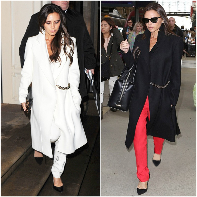 2015 Fashion Women winter coat Victoria Beckham Simple Cashmere coat Woolen outerwear(China (Mainland))