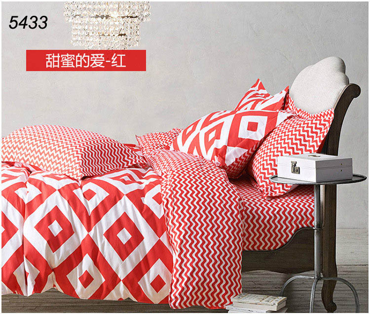 red and white cotton 4pcs bedding set duvet cover bed sheet pillowcases 100% cotton high density bed set hot 5433(China (Mainland))