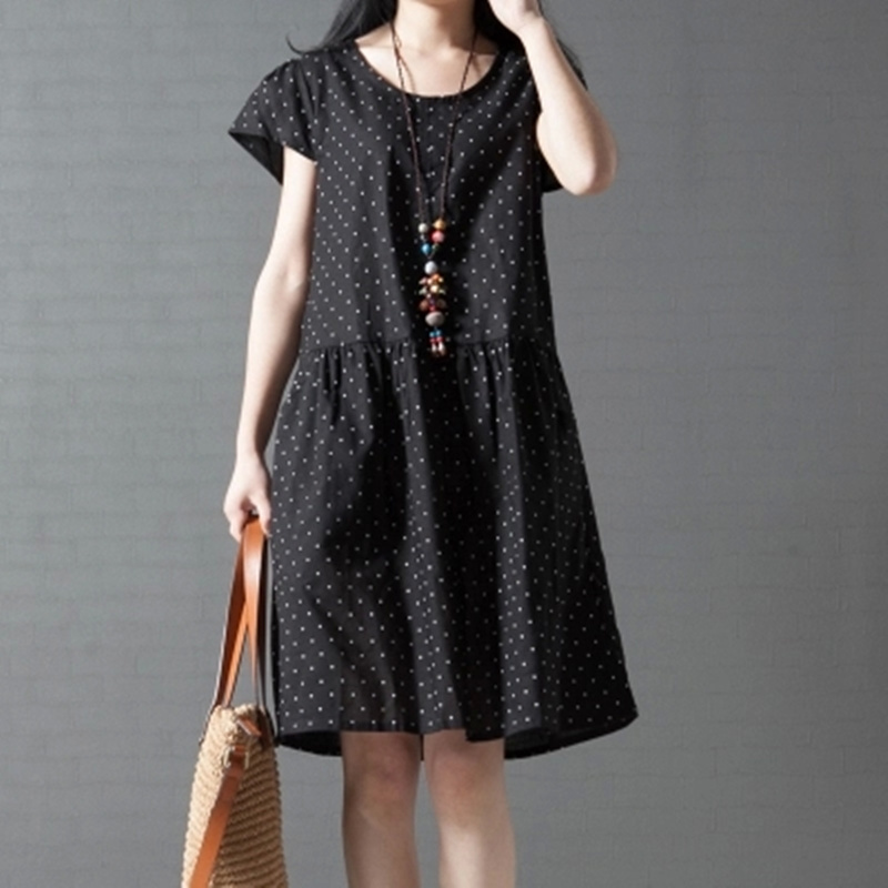 S-XXL Polka Dot Vintage Linen Dress Women Loose Plus Size 2015 New Style Ladies Summer Dress Bodycon Robe Vestidos NL14(China (Mainland))