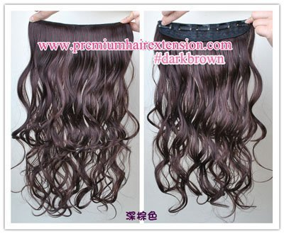 20inch dark brown body wave synthetic hair clip on extension 5 clips inside free shipping