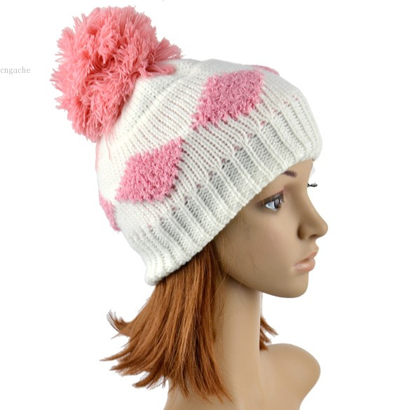 2014 HOT New Women's Diamond Grid Pattern Beanie Crochet Knit Winter Hat Large Ball Cap Ski B03(China (Mainland))
