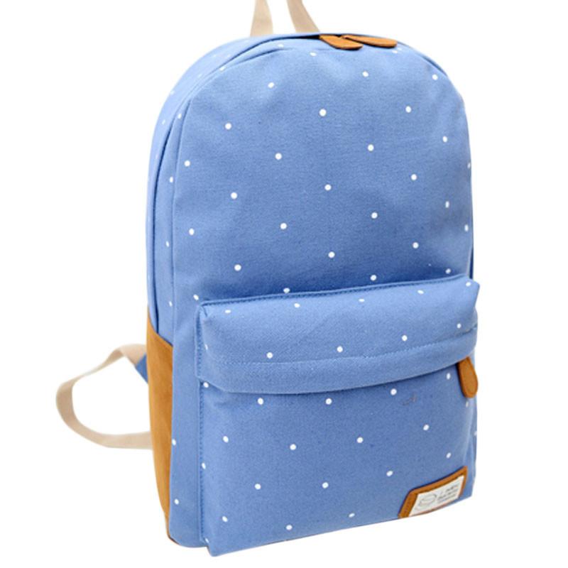 2015 Fashion Students Oversize Bag Backpack Women Girl Canvas Rucksack Polka Dot Backpack School Book Shoulder Bag Free Shipping(China (Mainland))