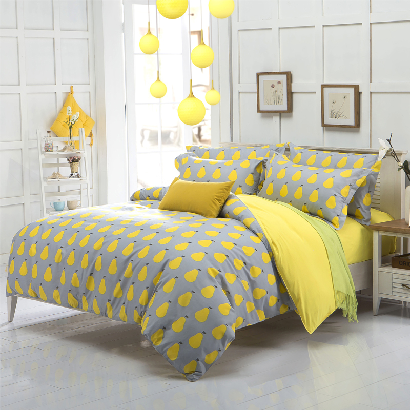 new arrival quality polyester pear apple yellow queen twin full bedding bed sheet set bedclothes duvet cover set bedding set(China (Mainland))