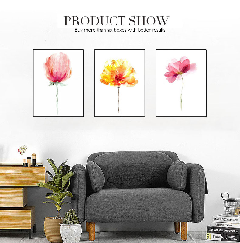 Colorful Watercolor Flowers Art Canvas Painting Print Poster Wall Pictures Wall Painting For Living Room Home Decor No frame