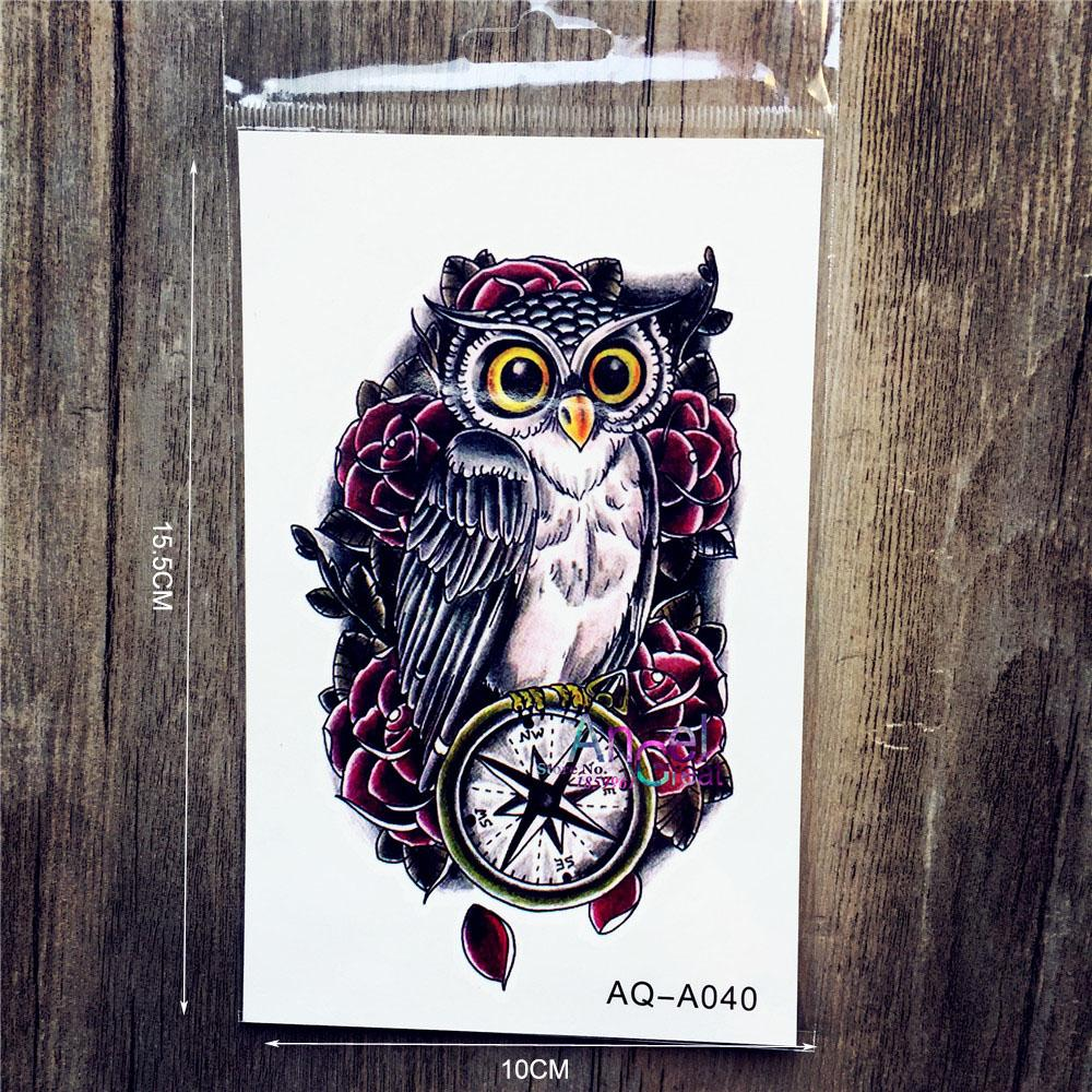 Hot Fashion 3D Owl Tattoo Sticker For Sexy Women AAQ-A040 Cool Men Compass Fake Tattoos Paste Black Owl Pattern Old Clock Tatoo(China (Mainland))