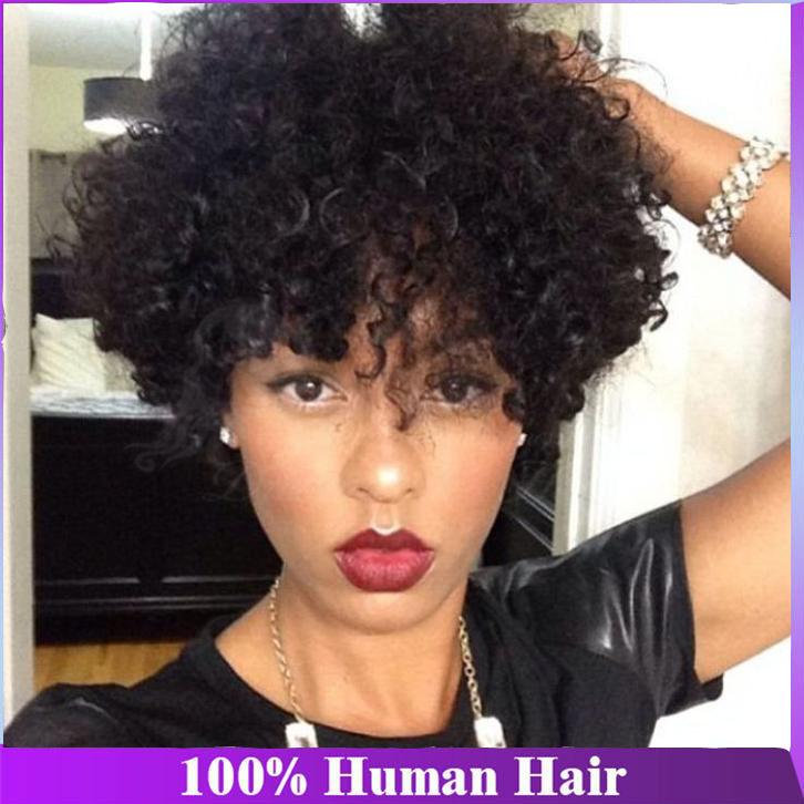 130Density pixie cut short full lace human hair wigs