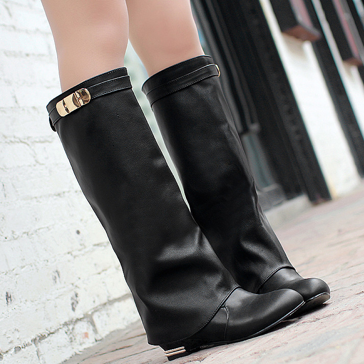 Гаджет   2015 Big size 34-43 HOT sale new brand fashion women motorcycle boots  leather wedges shoes woman autumn winter knee high boots None Обувь
