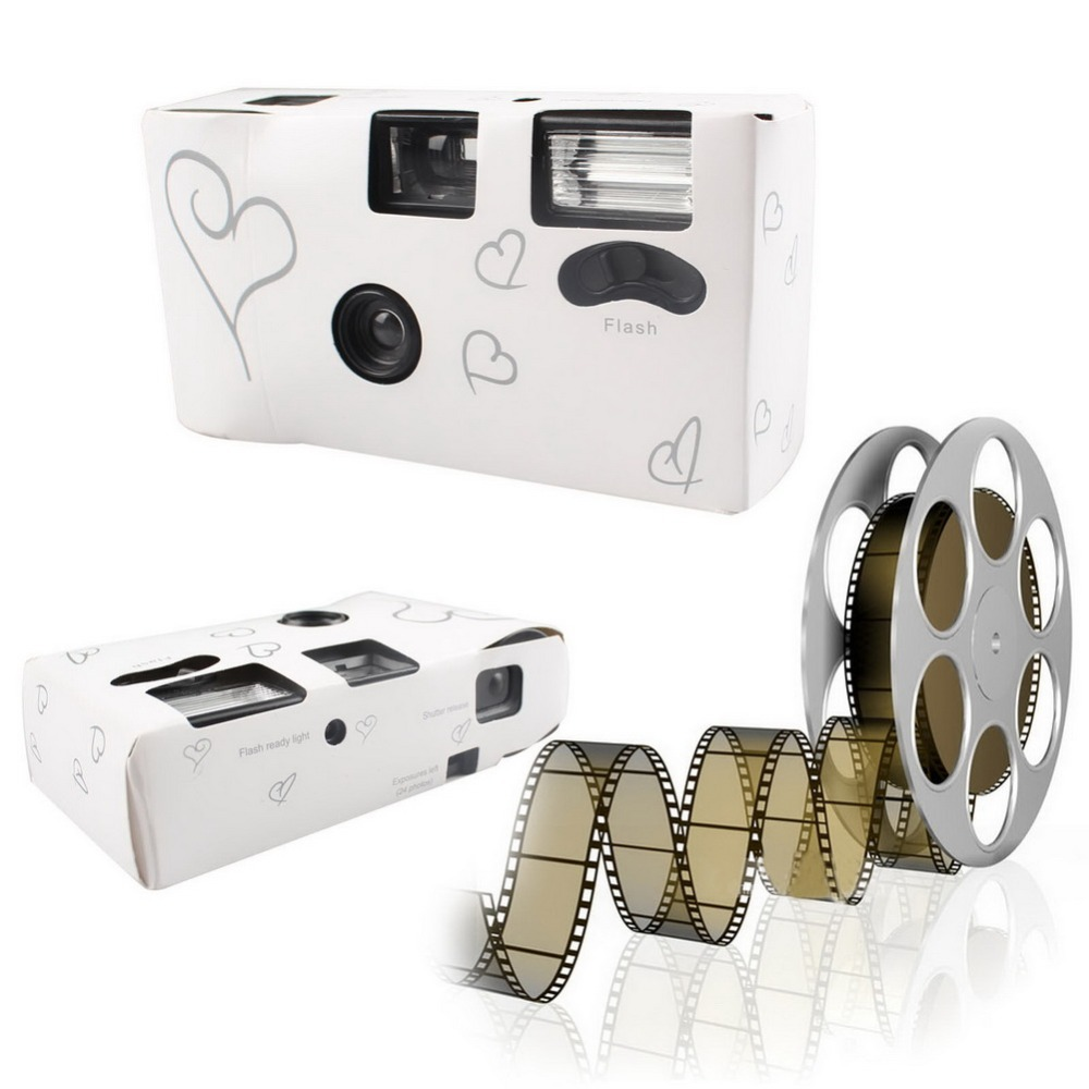 5Pcs Silver Funny Heart Disposable Wedding Bridal Cameras With Flash and Table Card(China (Mainland))