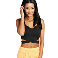 Brand Design Summer Fashion Women elastic cotton Tie back Camis Tied Strap Crop Tops backless tank