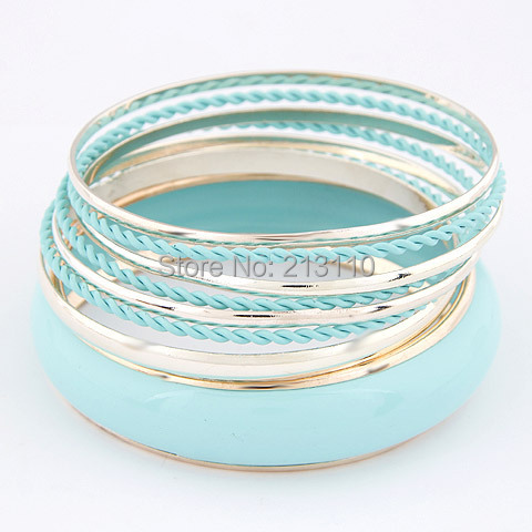 Bangle Sets For Women Candy Enamel Bangles sets Charm Multilayer Bracelets Bangles Fashion Cute Bracelet 2015 New pulseras(China (Mainland))