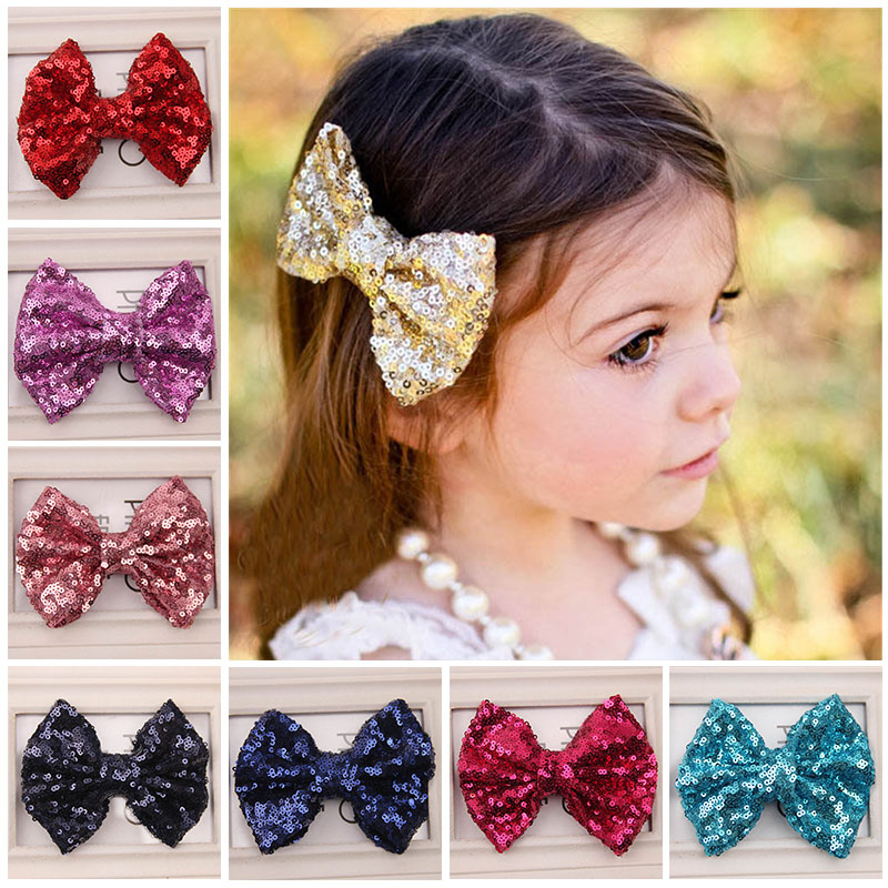 Newly Design Kids Girl Fashion Sequin Barrettes Bling Bling Big Bow Hair Clips Headbands Boutique Accessories Aug4(China (Mainland))