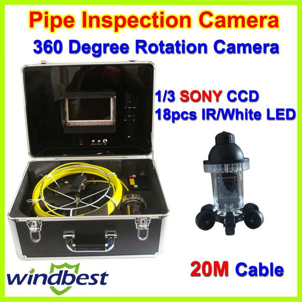 """360 Degree Rotation CCTV Underwater SONY CCD Sewer Drain Pipe Wall Inspection Camera 7"""" TFT LCD 20m Cable 18pcs IR/White LEDs(China (Mainland))"""