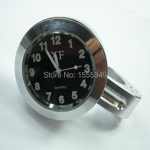 "Chrome Aluminum 7/8"" 1"" Motorcycle Handlebar Dial Clock For Kawasaki Suzuki Yamaha Honda Harley(China (Mainland))"