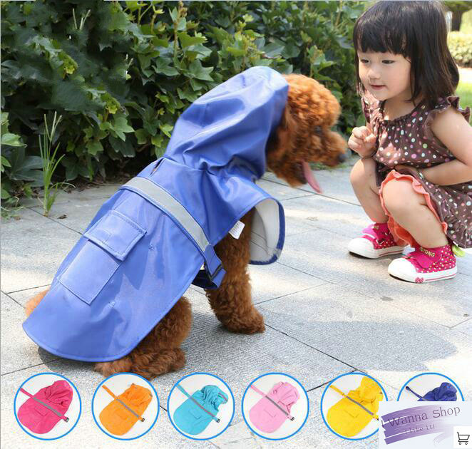 XS S M L XL XXL dog raincoat for dog clothes yellow blue rose red pink small big dog waterproof rain coat dog raincoats(China (Mainland))