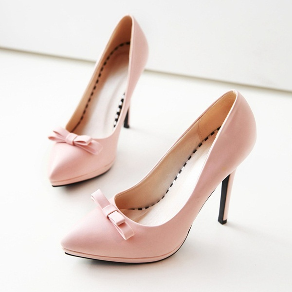 Women 4 Solid Colors Bowtie High Heels New Fashion 2015 Pink Black Pointed Toe Cute Elegant Shoes Sapatos Femininos XWD1810 - TANGNEST Women's Store store