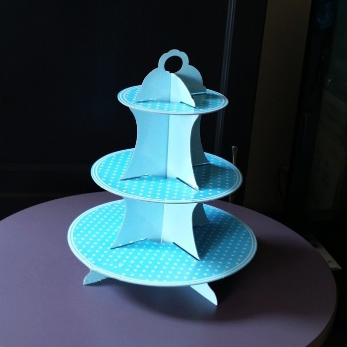 Free shipping blue dot three layer decoration cupcake stand cake plate stands birthday baby shower party dessert station supply(China (Mainland))