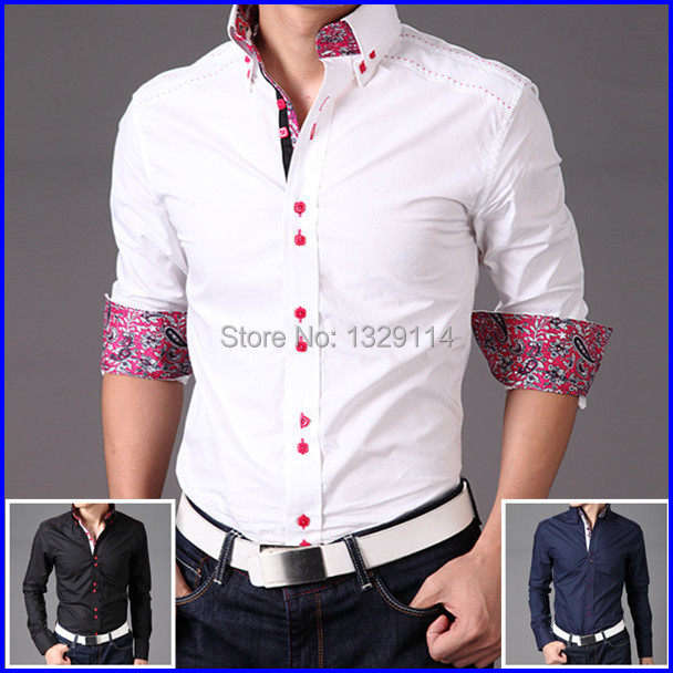 Free shipping M-XXXXL Luxury Slim fit Button down Floral contrast collar shirt for men Masculina camisa MZ-1887(China (Mainland))